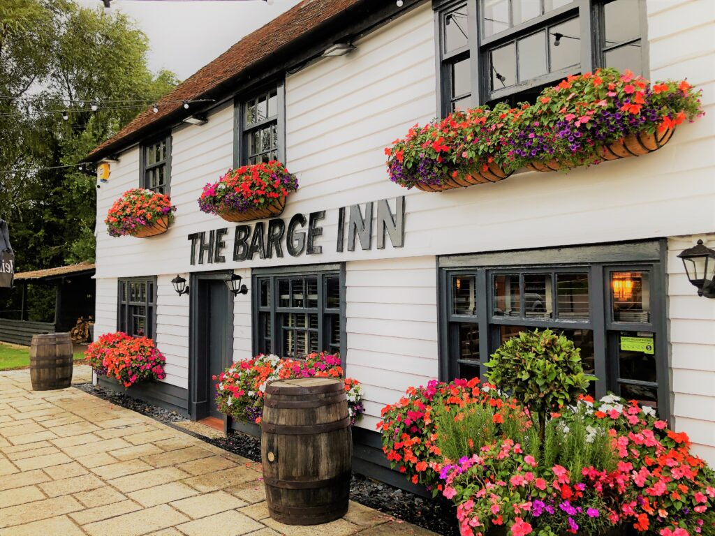 beauitiful floral display, pub flowers, ancient pub, country pub dining pub at The Barge Inn Battlesbridge Essex