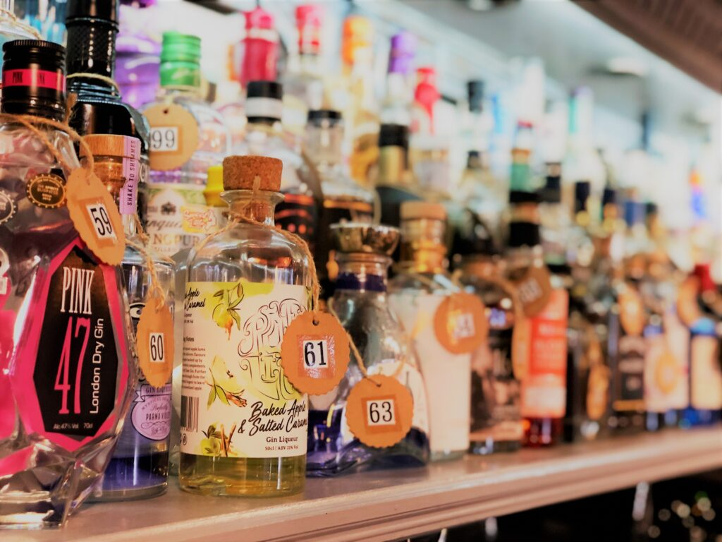 Exceptional Gin Bar at the Barge Inn Battlesbridge Essex pink 47 gin