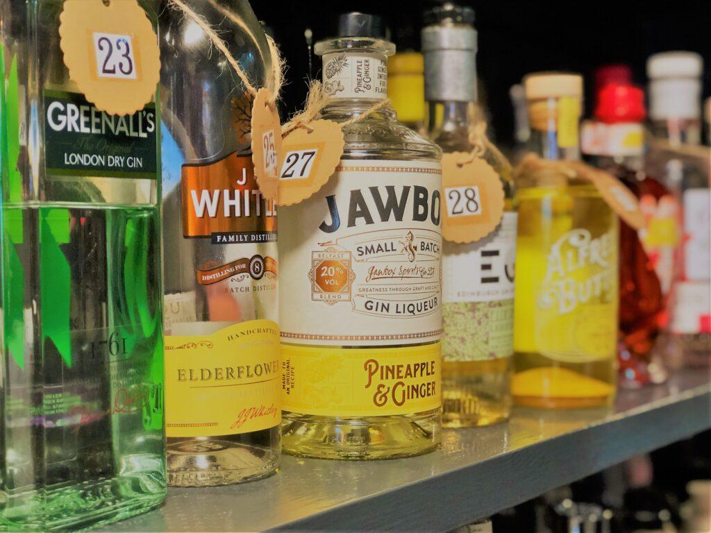 Exceptional Gin Bar at the Barge Inn Battlesbridge Essex greenhall gin jjwhitley gin jawbox gin EG gin Alfred Button gin