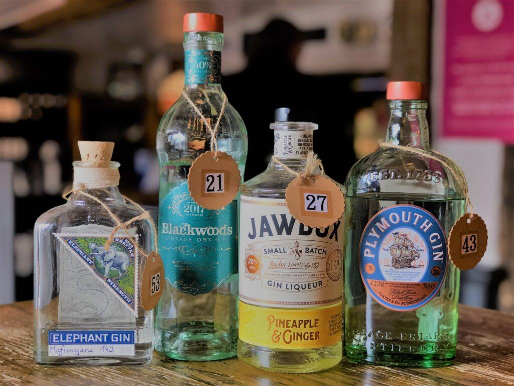 Exceptional Gin Bar at the Barge Inn Battlesbridge Essex Elephant gin blackwoods gin jawbox gin plymouth gin
