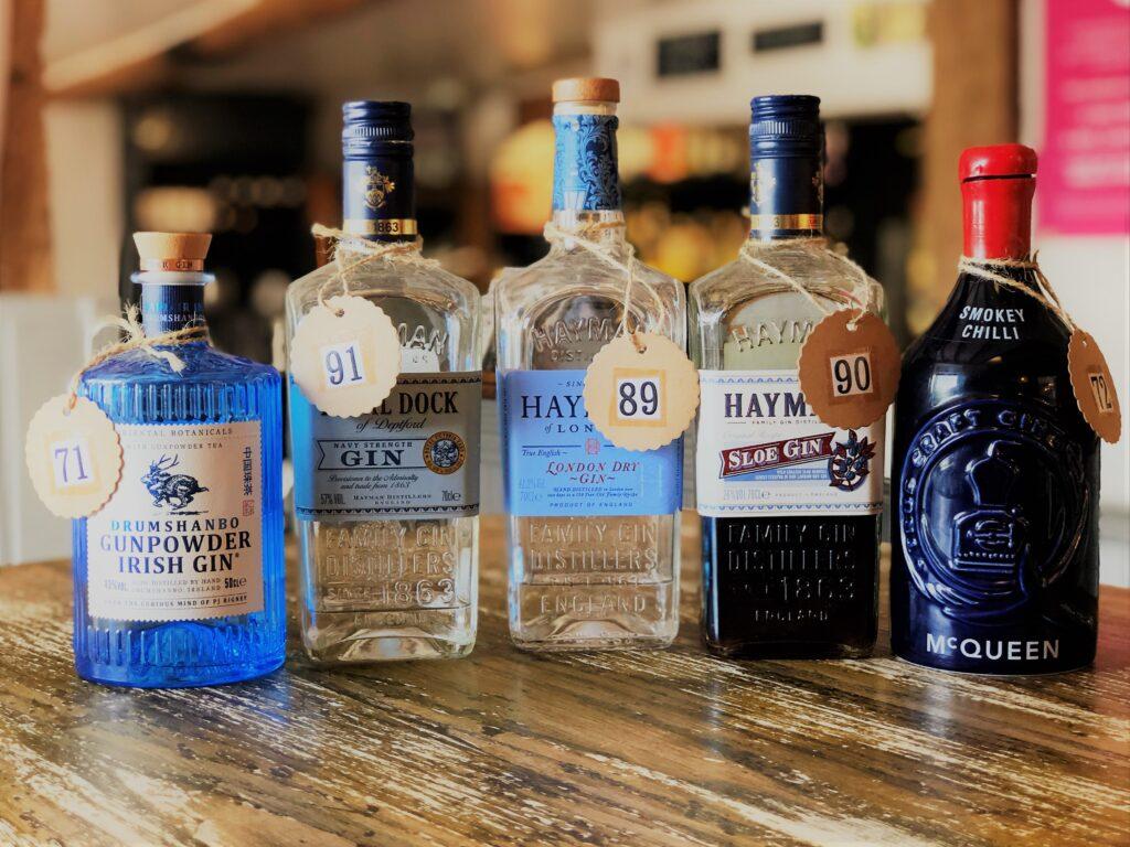 Exceptional Gin Bar at the Barge Inn Battlesbridge Essex Drumshanbo gunpowder irish gin McQueen smokey chilli gin haymans gin haymans royal dock gin