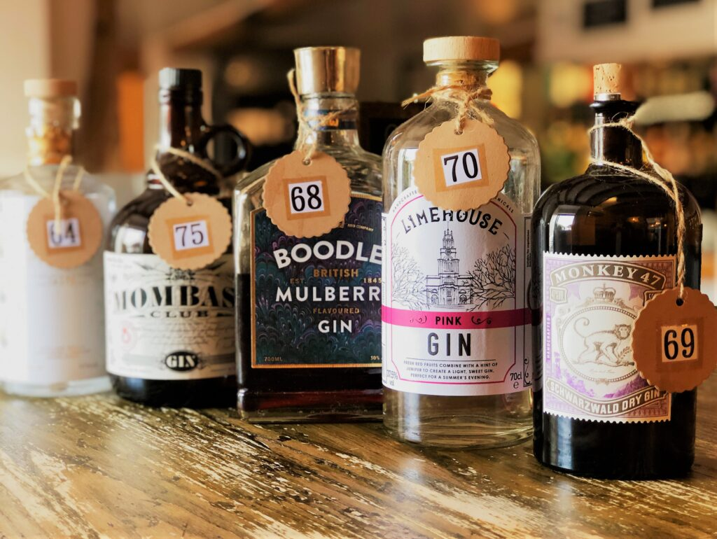 Exceptional Gin Bar at the Barge Inn Battlesbridge Essex Boodles Mulberry Gin Lime House Gin Monkey47 Gin