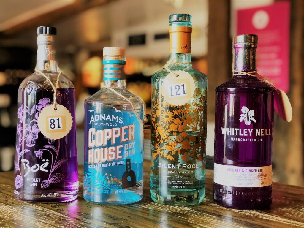 Exceptional Gin Bar at the Barge Inn Battlesbridge Essex Boe Gin Adnams Copperhouse Gin Silent pool gin whitley neill gin