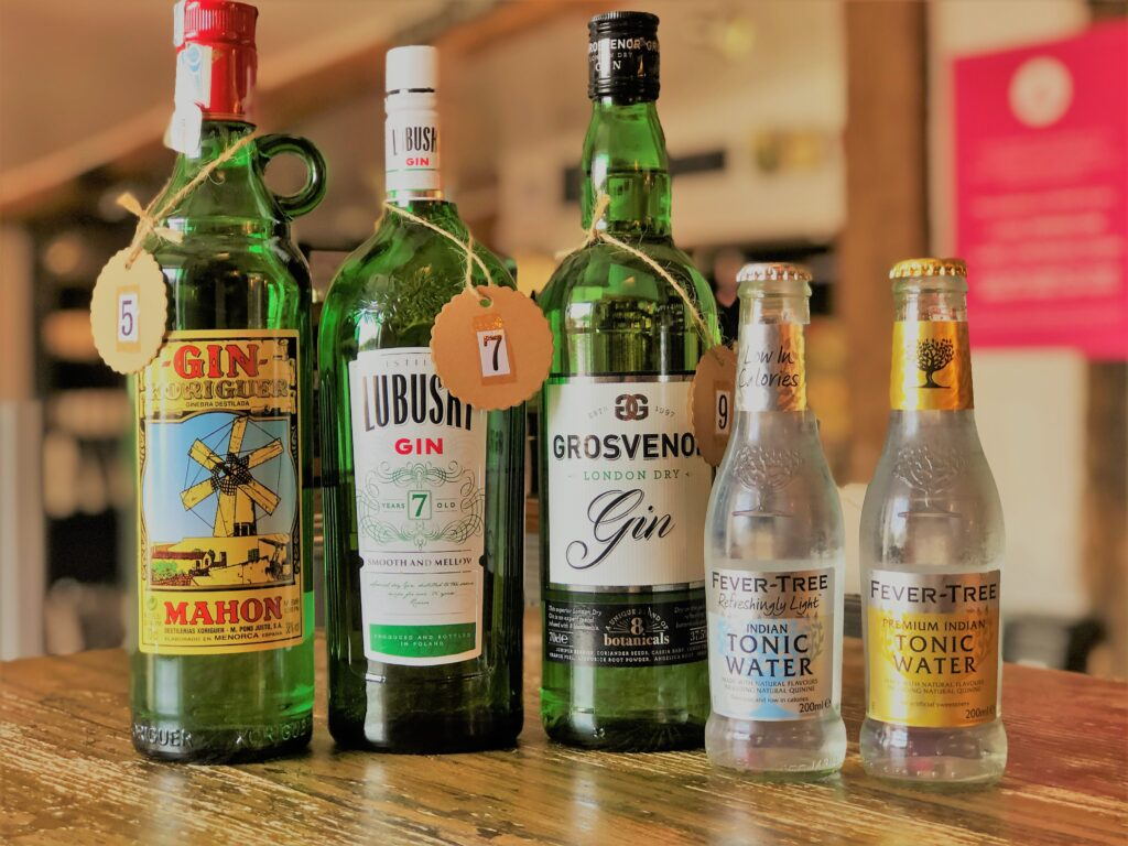 Exceptional Gin Bar at the Barge Inn Battlesbridge Essex Mahon Gin Lubuski Gin Grosvenor Gin fever tree tonic water