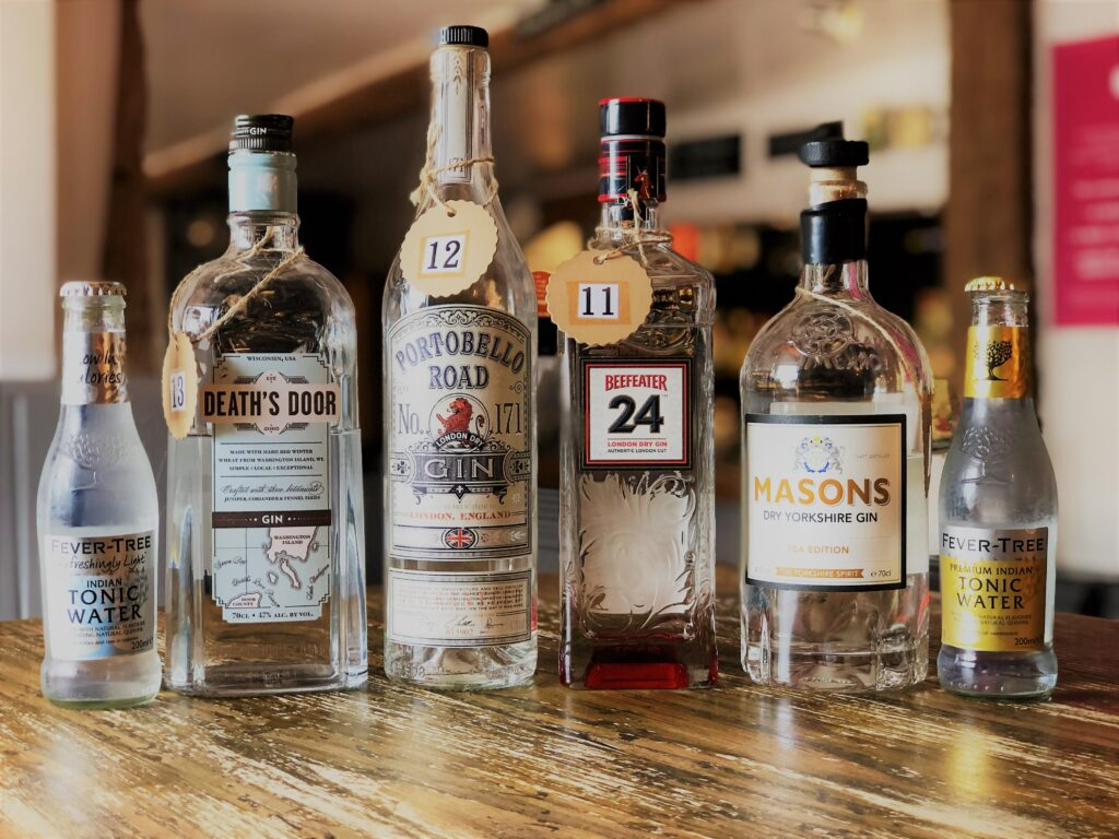Exceptional Gin Bar at the Barge Inn Battlesbridge Essex Fever Tree Tonic Deaths Door Gin Portobello Road Gin, Beefeater 24 Gin Masons Yorkshire Gin