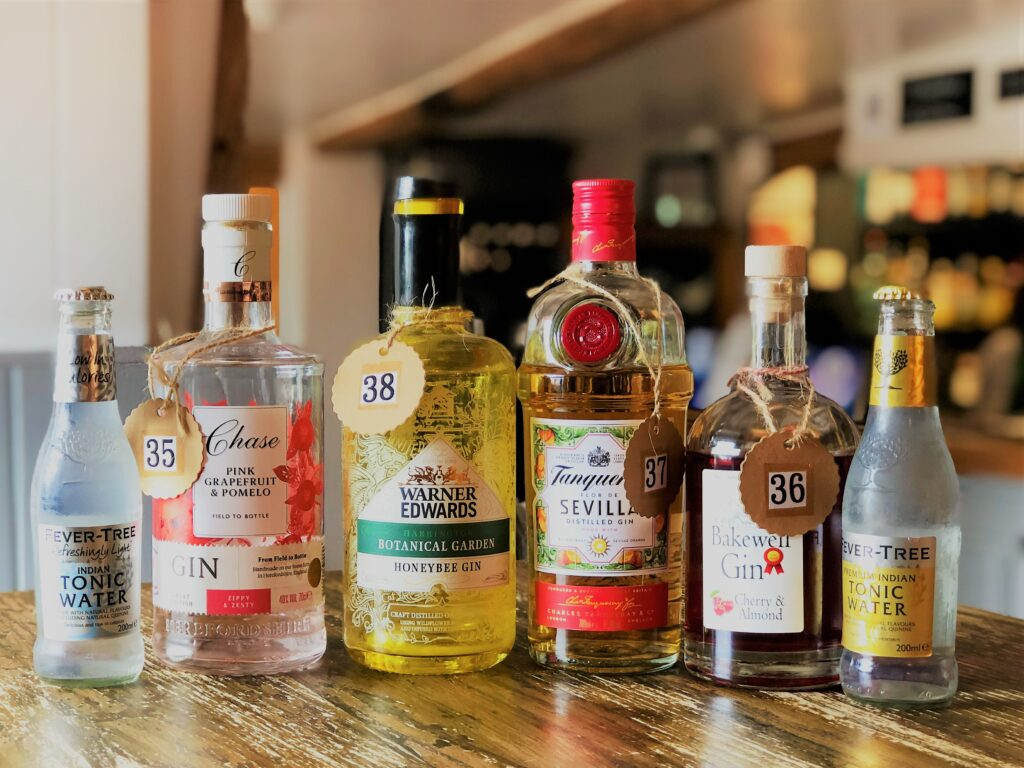 Exceptional Gin Bar at the Barge Inn Battlesbridge Essex Fever tree tonic Chase gin Warner Edwards Gin Tanqueray gin Bakewell Gin