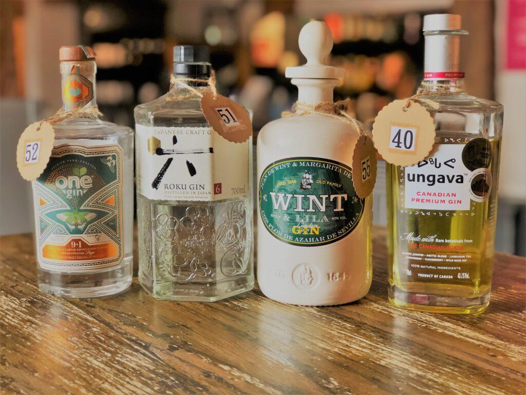 Exceptional Gin Bar at the Barge Inn Battlesbridge Essex One Gin Roku Gin Wint & Lila Gin Ungava Canadian Gin