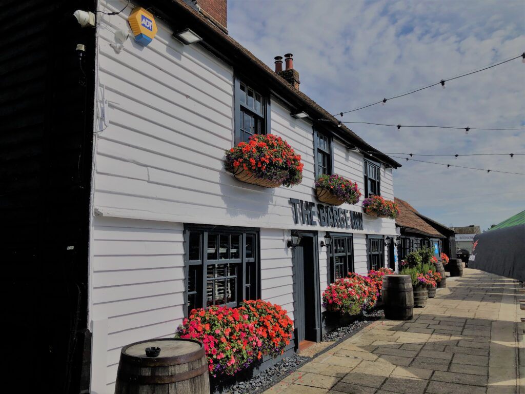 beauitiful floral display, pub flowers, historic pub, country pub dining pub at The Barge Inn Battlesbridge Essex