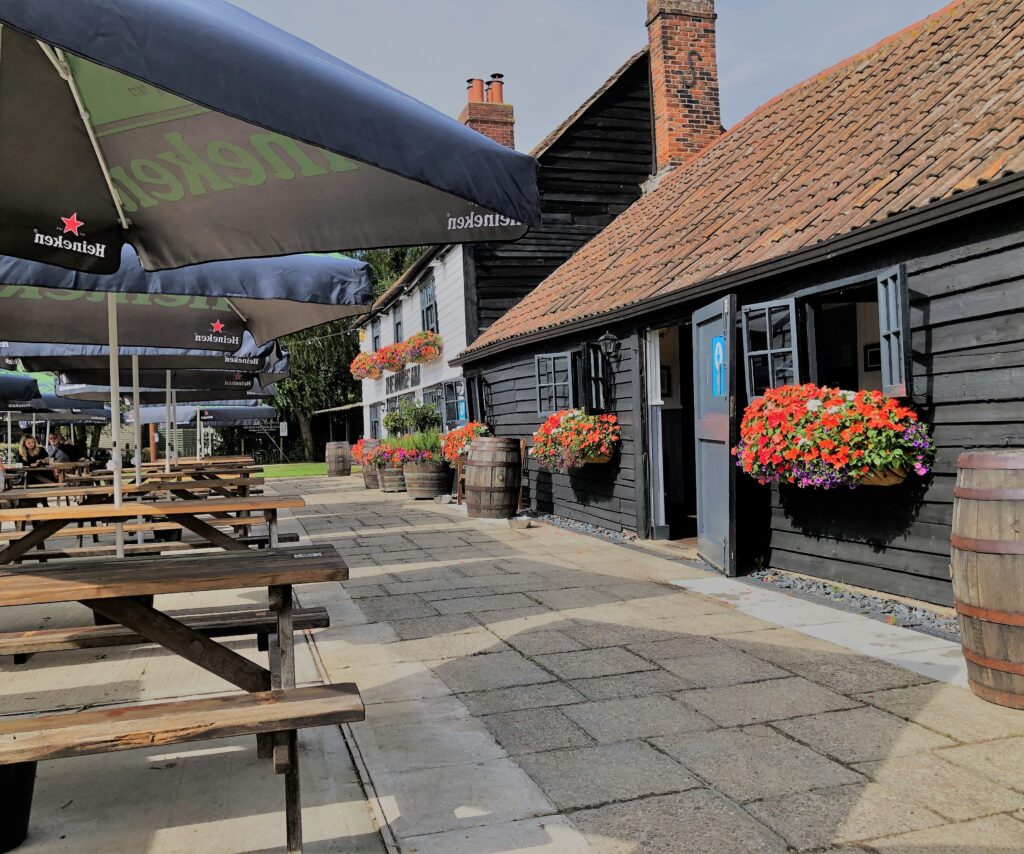 Outside drinking and dining and beer garden at The Barge Inn Battlesbridge Essex