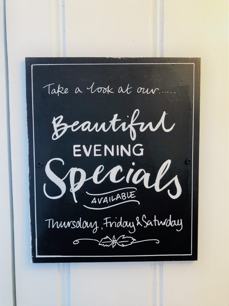 beauitful ebvening chefs specials at the Barge Inn Battlesbridge Essex