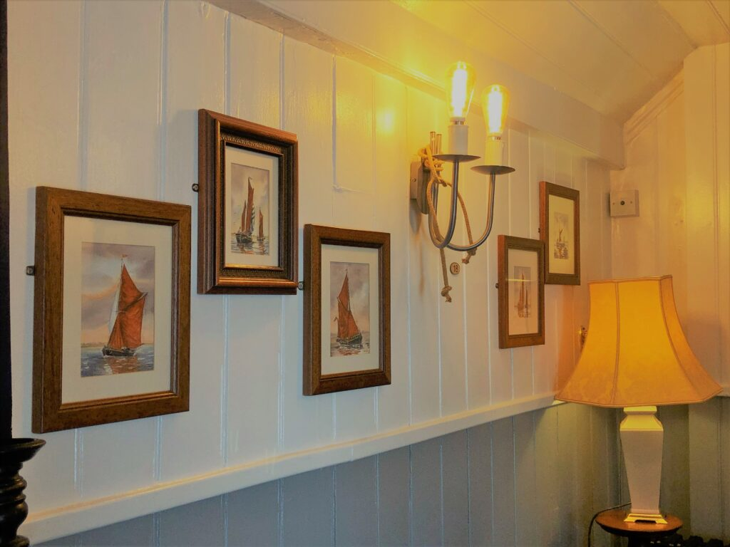 Attractive barge boarded interior at The Barge Inn Battlesbridge Essex