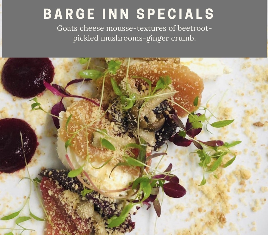 goats cheese mousse textures of beetroot pickled mushrooms ginger crumb chefs specials barge inn battlesbridge