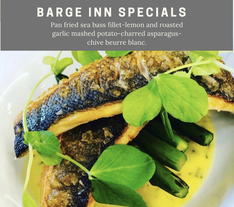 Pan fried sea bass lemon and roasted garlic mashed potato and charred asparagus chive blanc chefs specials barge inn battlesbridge